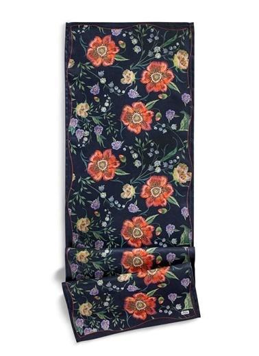 The Mia Floral Runner B - 140 x 40 Cm - Siyah Çiçekli Siyah
